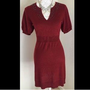 Ann Taylor Loft Red Embellished Sweater Dress